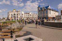 Tomsk, Russie, place de Lénine 10 juillet 2017 Partie centrale de la ville Rues de marche en été Photographie stock libre de droits