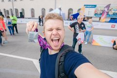 Tomsk, Russia - June 9, 2019: International Marathon Jarche athletes runners crowd are at start