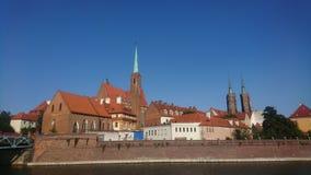 Tomski ostrów Wroclaw whit Katedra Jana chrzciciela stock image