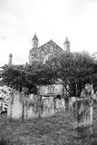 Tomstones in Rye in black and white Royalty Free Stock Images