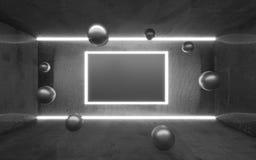 Tomt abstrakt konkret showrum med det glödande ljus- och kopieringsutrymmet Modern utställningstudiomodell för produkt royaltyfri illustrationer