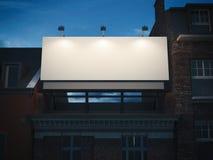 Tomt affischtavlaanseende på klassisk byggnad framförande 3d arkivbilder