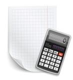 Tomt ark av papper med claculator Fotografering för Bildbyråer