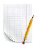 Tomt ark av papper med raster och blyertspennan Royaltyfri Fotografi