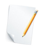 Tomt ark av papper med raster och blyertspennan royaltyfri bild