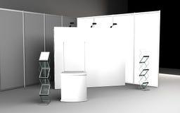 tomt bås för handelshow för tolkning för formgivare 3D stock illustrationer
