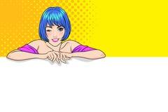 Tomt baner för gullig kvinnavisning royaltyfri illustrationer