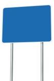 Tomt blått vägmärke isolerad Signage för trafik för stor Pole för skylt för vägvisare för vägren för ram för perspektivkopierings Royaltyfri Bild