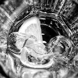 tomt exponeringsglas med is och citronen fotografering för bildbyråer