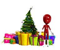 Tomt figurera med julgranen Arkivbild