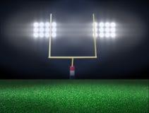 Tomt fotbollfält med strålkastare Royaltyfri Fotografi