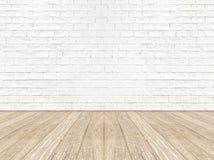 Tomt golv för planka för för tegelstenrumvägg och trä Arkivbild