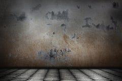 Tomt grungerum med betongvägg- och kvartercementgolvet royaltyfria foton