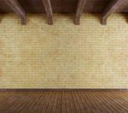 Tomt grungerum med den gamla tegelstenväggen Arkivfoto