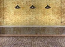 Tomt grungerum med tegelstenväggen Arkivbilder