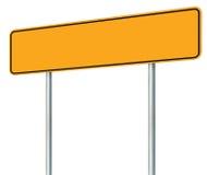 Tomt gult vägmärke, isolerat stort varningskopieringsutrymme, för Pole för skylt för vägvisare för svartramvägren Signage för tra Royaltyfria Foton