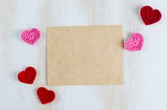 Tomt hälsningkort för dag för St-valentin` s Arkivfoton