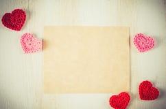 Tomt hälsningkort för dag för St-valentin` s Fotografering för Bildbyråer