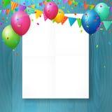 Tomt hälsningkort för lycklig födelsedag med ballonger Arkivfoto