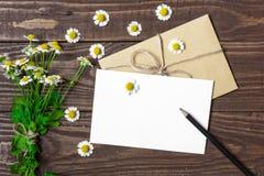 Tomt hälsningkort och kuvert med den vita kamomillblommor och blyertspennan arkivbilder