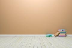 Tomt inre pastellfärgat rum med trägolvet och böcker, för dis Royaltyfri Foto