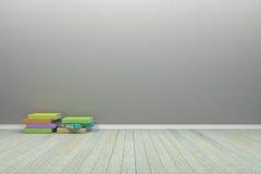 Tomt inre pastellfärgat rum med trägolvet och böcker, för dis Fotografering för Bildbyråer