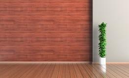 Tomt inre rum, trävägg och golv, växt, tolkning 3d stock illustrationer