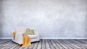 Tomt inre utrymme med den gråa väggen fotografering för bildbyråer