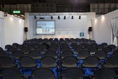 Tomt konferensrum på biten 2014, internationellt turismutbyte i Milan, Italien arkivfoto