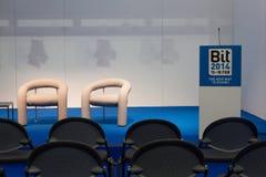 Tomt konferensrum på biten 2014, internationellt turismutbyte i Milan, Italien arkivbild