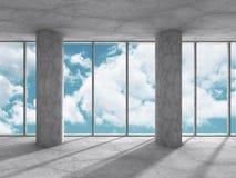 Tomt konkret rum med det stora fönstret och kolonner Abstrakt archit Arkivfoto