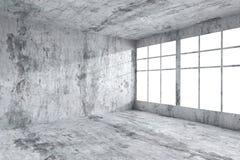 Tomt konkret rumhörn med fönster, abstrakt inre Arkivbilder