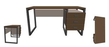 tomt kontor för skrivbord bakgrund isolerad white vektor för illustration 3d royaltyfri illustrationer
