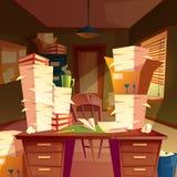 tomt kontor med högar av papper, skrivbordsarbete vektor illustrationer
