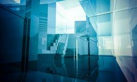 Tomt kontor med kolonner och stora fönster, inomhus byggnad. bu stock illustrationer