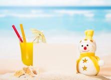 Tomt kort, coctail, snögubbe, havsskal och stjärna i sand Arkivbild