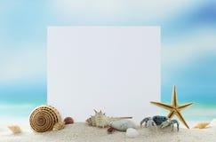 Tomt kort på sandstranden Arkivfoto