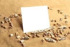 Tomt kort på strandsand med små skal Royaltyfria Foton