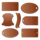 Tomt läder texturerad etikett Royaltyfria Foton