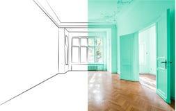 Tomt lägenhetrum efter renovering och designplanläggningen skissar applicerat fotografering för bildbyråer