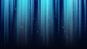Tomt mörker - blå bakgrund med strålar av ljus, mousserar, glänsande nattstjärnahimmel stock illustrationer