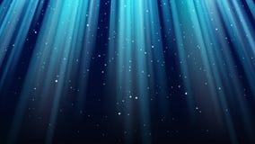 Tomt mörker - blå bakgrund med strålar av ljus, mousserar, glänsande nattstjärnahimmel royaltyfri illustrationer
