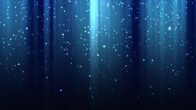 Tomt mörker - blå bakgrund med strålar av ljus, mousserar, stjärnklar himmel för natten, sömlös ögla