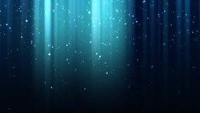 Tomt mörker - blå bakgrund med strålar av ljus, mousserar, stjärnklar himmel för natten, sömlös ögla stock video