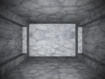 Tomt mörkerbetongrum Bakgrund för Grungedesignarkitektur Arkivbild