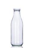 Tomt mjölka den isolerade flaskan, den inklusive snabba banan Arkivfoto