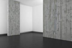 Tomt modernt badrum med betongväggen och det mörka golvet Royaltyfri Foto