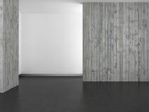 Tomt modernt badrum med betongväggen och det mörka golvet Arkivfoto