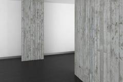 Tomt modernt badrum med betongväggen och det mörka golvet Royaltyfri Fotografi