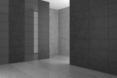 Tomt modernt badrum med gråa tegelplattor Arkivfoton